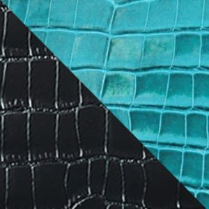 Black and turquoise alligator & grained calf